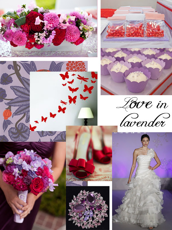 red and lavender wedding Credits Centerpiece Becky Hill Photography via
