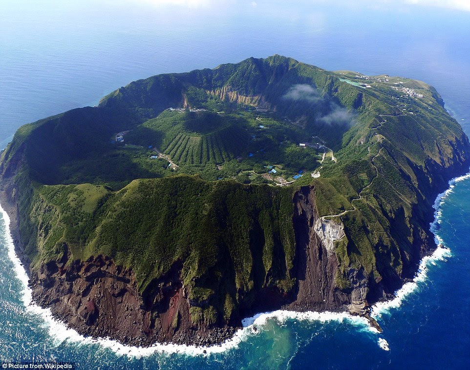 Bravest village ever? The settlement ofAogashima in thePhilippine Sea, has 200 inhabitants who live in the middle of a volcanic crater