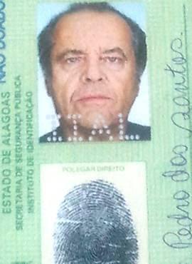 RG com a foto do ator Jack Nicholson era usado por suspeito