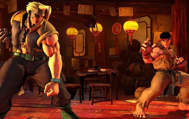 Charlie Encara Ryu em cena de 'Street Fighter V' (Foto: Divulgação / Capcom)