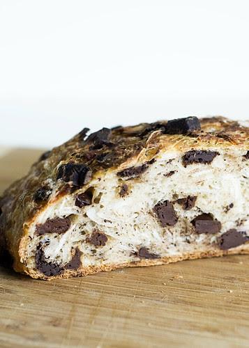 coconut chocolate bread - cut