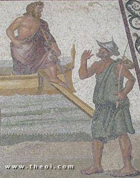 Asclepius arriving at Cos | Greek mosaic C2nd A.D. | Archaeological Museum of Cos
