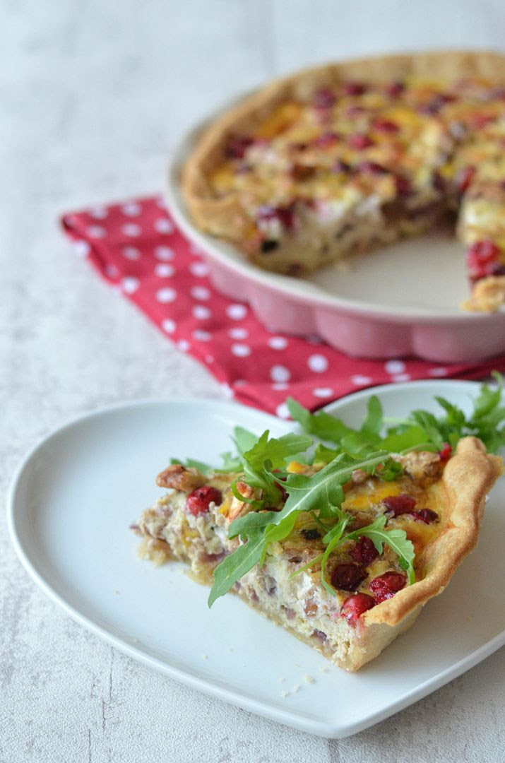 Goats Cheese, Walnut & Cranberry Tart