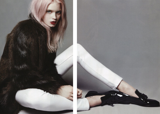 VOGUE CHINA ABBEY LEE KERSHAW MODEL PINK HAIR BRIGHT RED LIPS LIPSTICK OVERSIZED BROWN FUR COAT SKINNY WHITE JEANS DENIM BLACK PATENT TASSEL LOAFERS COUPLE EDITORIAL 5