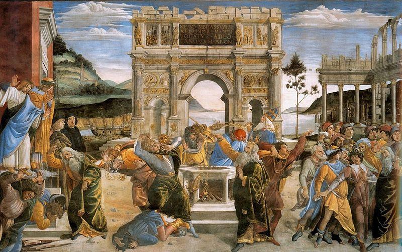 Fil: Botticcelli, Sandro - Straffet för Kora och steningen av Moses och Aron - 1481-82.jpg