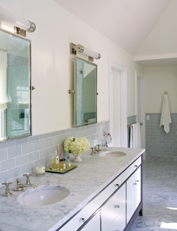 Gray Subway Tile - Contemporary - bathroom - Bella Mancini Design