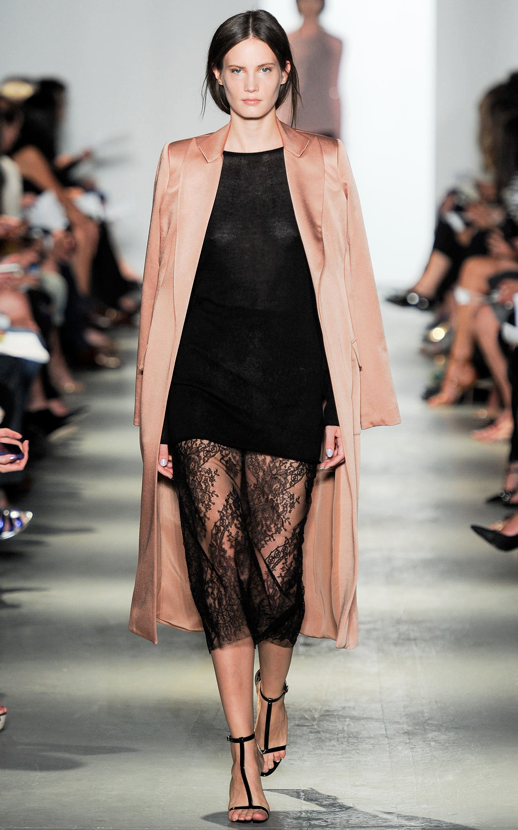LE FASHION BLOG WES GORDON SS 2014 NYFW PEACH PINK ROSE COAT BLACK LACE MIDI SKIRT STRAPPY BLACK PATENT SANDALS HEELS 1 photo LEFASHIONBLOGWESGORDONSS2014NYFWROSECOATBLACKLACE1.png