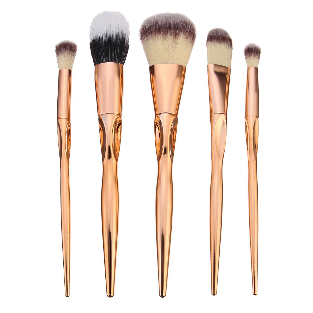 5Pcs Soft Makeup Brushes Kit Golden Cosmetics Tools Eye Shadow Lip Blending Blush Brush