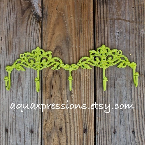 Wall Hook Rack /Lime Green /Jewelry/ Key Holder/ by AquaXpressions