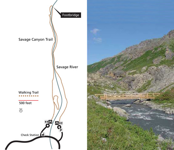 An image and map of the Savage River Canyon Trail