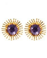 Betsey Johnson Purple Crystal Flower Stud Earrings