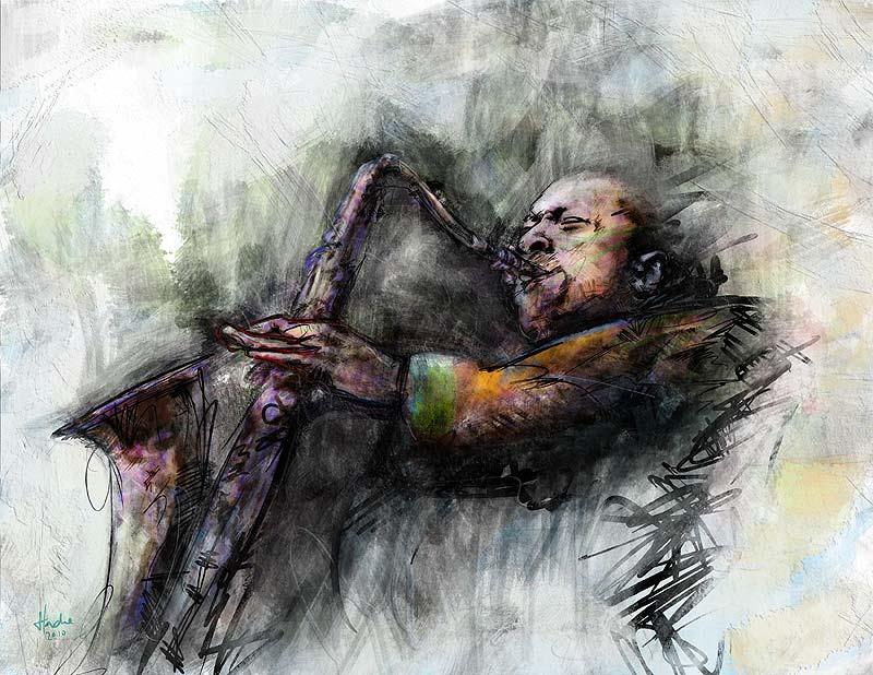 Retrato de John Coltrane por Hache Holguín