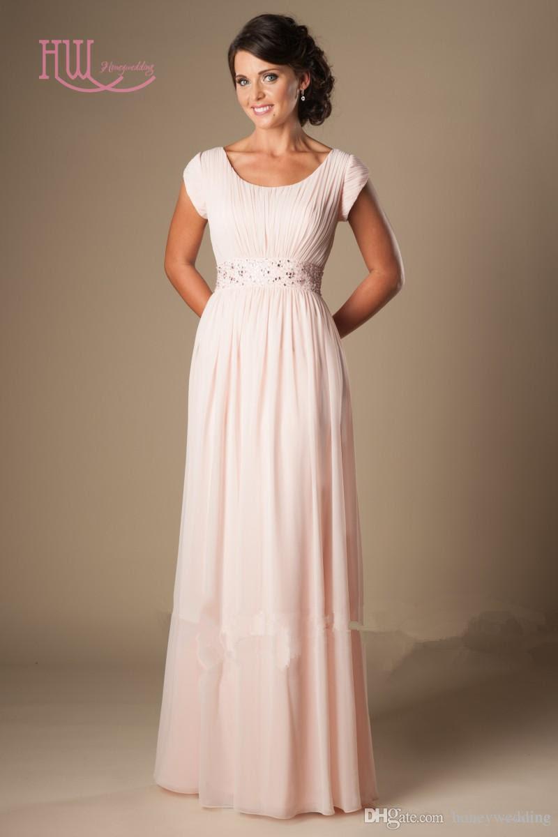 light pink long bridesmaid dresses cheap short sleeves