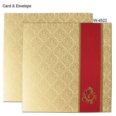 W 4522   Lord Ganesha Red Strip Card   Hindu Wedding Cards