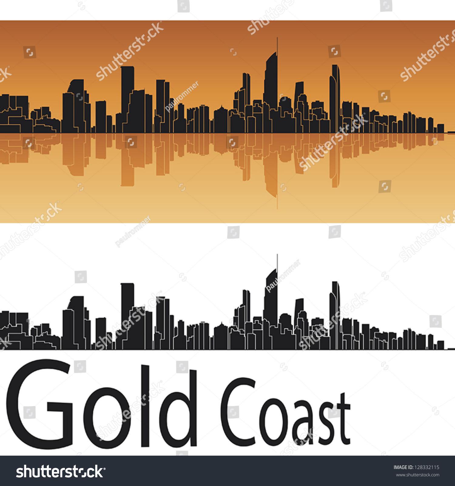 Gold Coast Skyline Orange Background Editable Stock Vector ...