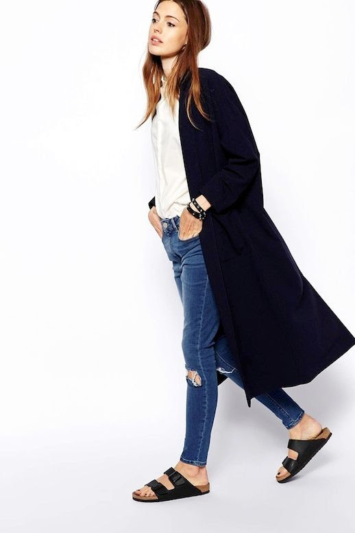Le Fashion Blog -- Fall Go-To Look: Long Jacket, White Shirt, Ripped Knee Skinny Jeans and Birkenstocks -- photo Le-Fashion-Blog-Fall-Go-To-Look-Long-Jacket-White-Shirt-Knee-Ripped-Jeans-Birkenstocks.jpg