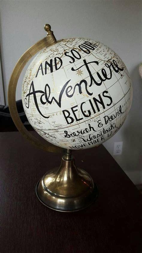 Personalized wedding globe, painted globe   Robbins' Nest