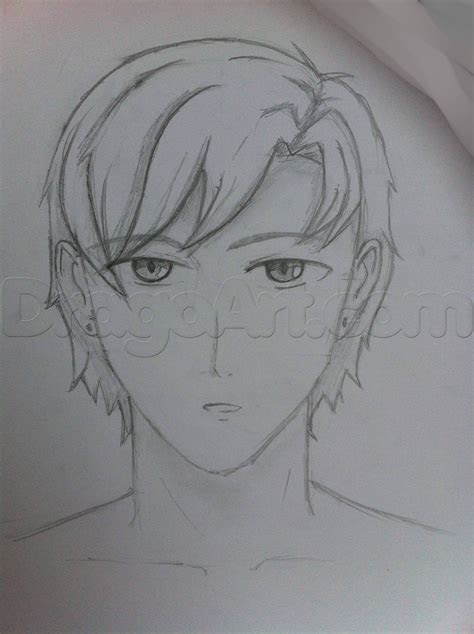 draw  male head front step  step anime heads