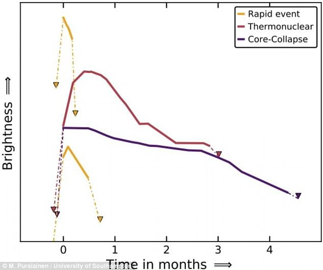 Graph showing the evolution of brightness for two quick transient events (discussed in the most recent findings) and two typical supernovae. The rapid events (pictured in yellow) are visible for less time, from a week to a month, whereas sypernovae last for several months or more (pictured in red and purple)