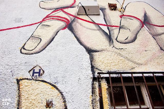 Giacomo Bufarini aka RUN, Street Art Mural in East London. Photo ©Hookedblog / Mark Rigney
