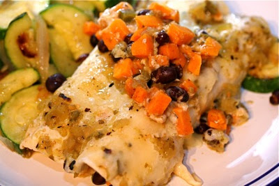 sweet potato and black bean enchilada