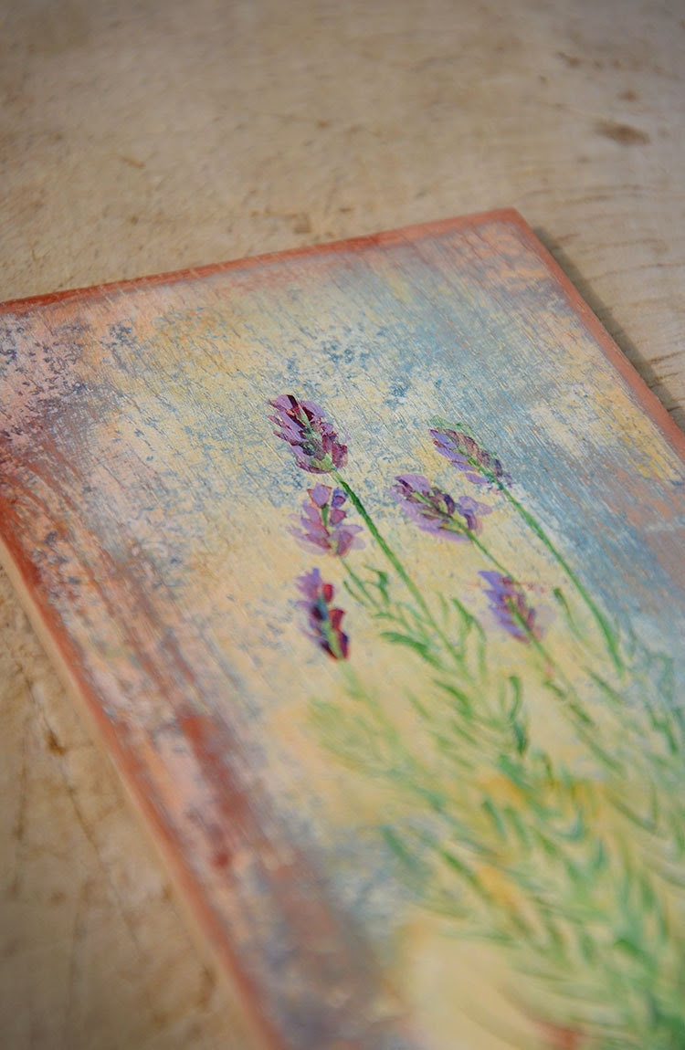 Lavandula painting, milfoil picture, shabby chic vintage floral painting, herbs botanical painting wooden board - vikisflowers