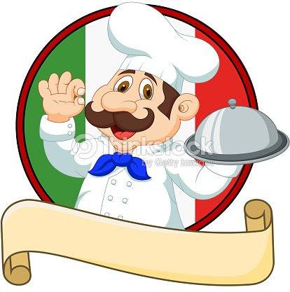 カットイラスト面白いイタリア料理シェフカットイラスト標識ok を押しの