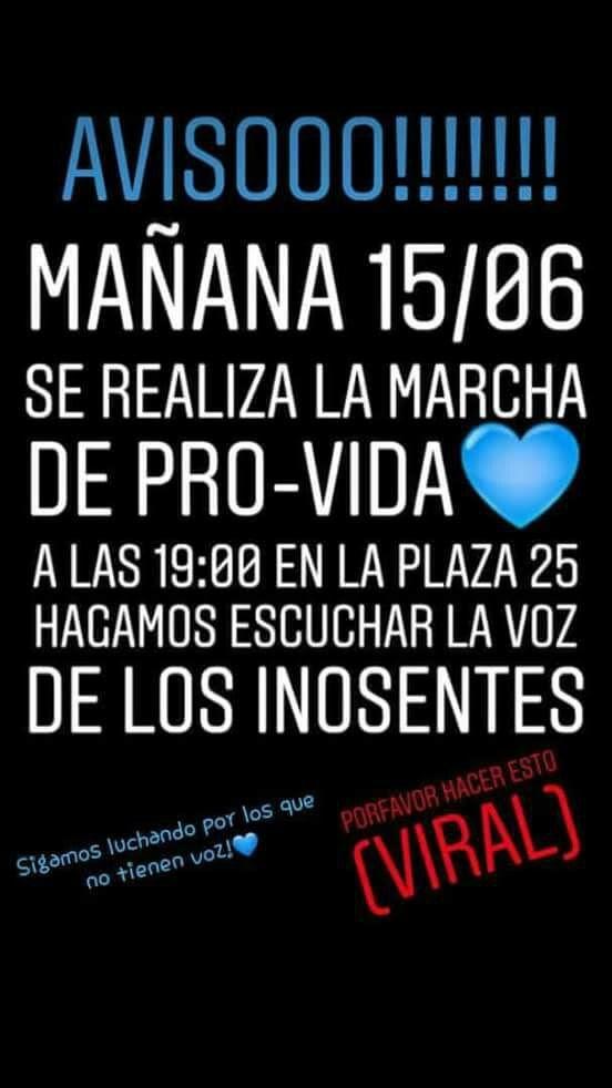 """Organizan una """"marea celeste"""" en San Juan, para manifestarse contra el ABORTO"""