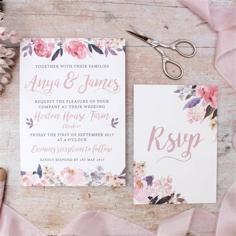 rose gold floral heirloom wedding invitation by nina