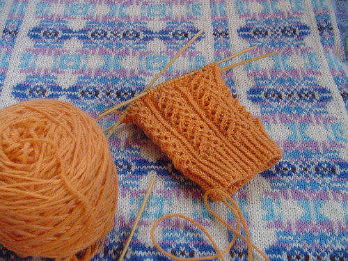 Hedera sock on blocking VS sweater