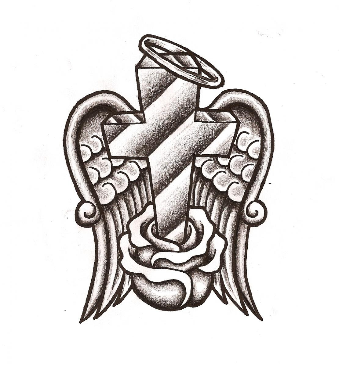 Pix For Tribal Cross With Wings Drawings Clip Art Library