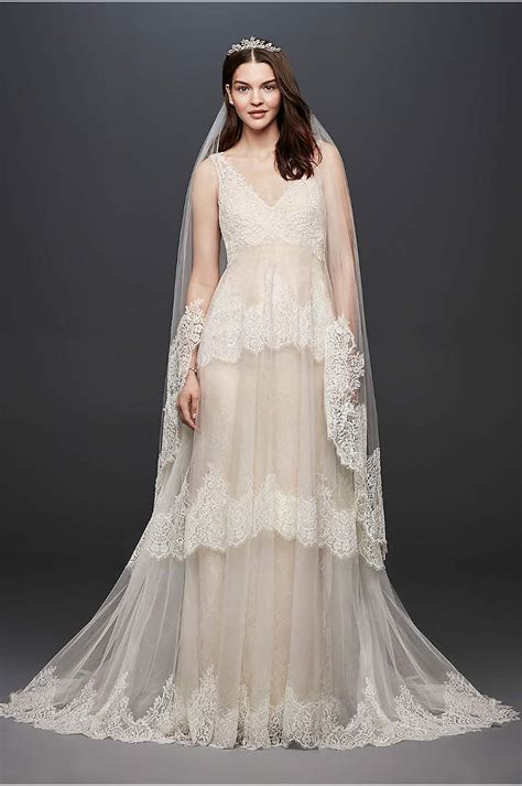 White by Vera Wang Lace Illusion Wedding Dress   David's