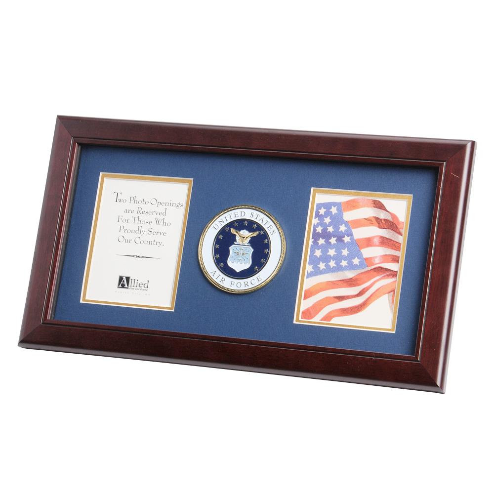 Us Air Force Medallion 4 Inch By 6 Inch Double Picture Frame