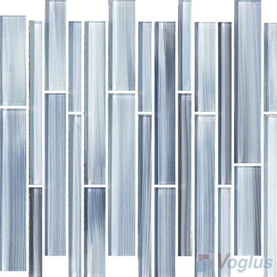 Blue Gray Linear Hand Painted Glass Mosaic Tiles Vg Hpl91 Voglus