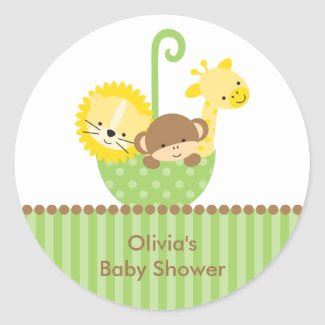 Jungle Animals in Green Umbrella Stickers sticker