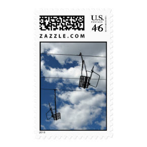 Ski Lift and Sky - Medium stamp