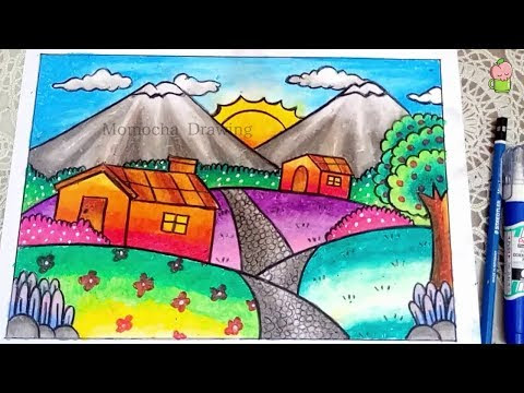 Cara Menggambar Dan Mewarnai Pemandangan Gunung Gradasi Warna Oil