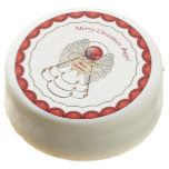 Red and Gold Filigree Merry Christmas Angel Chocolate Covered Oreo