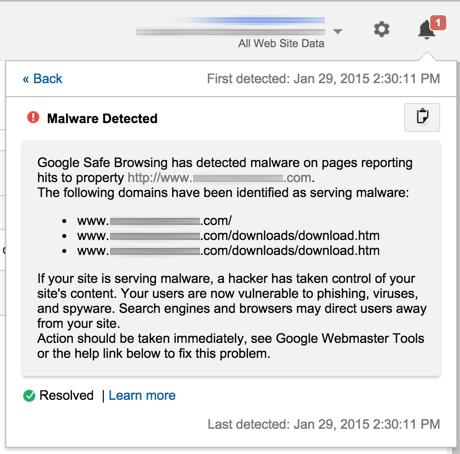 Google Analytics Malware Detected notification