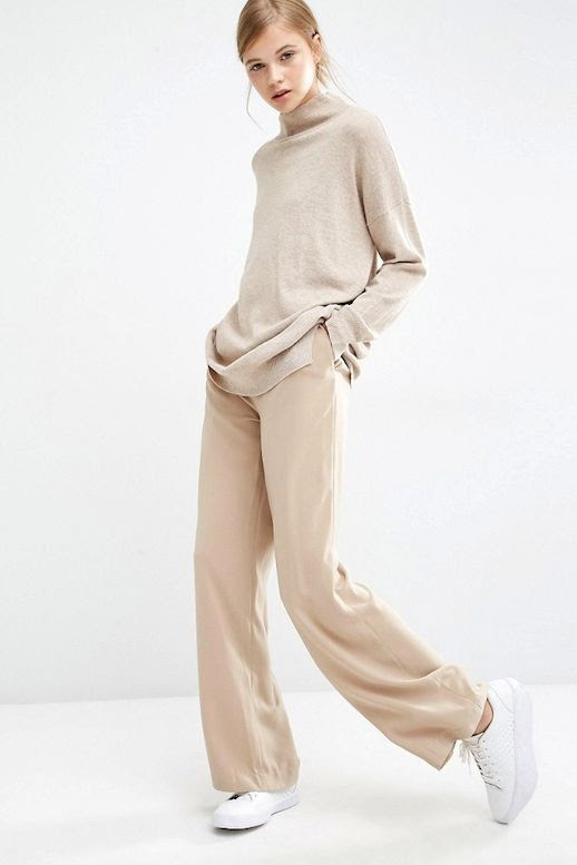 Le Fashion Blog Neutral Office Style Oatmeal Turtleneck Sweater Tan Wide Leg Trousers White Sneakers
