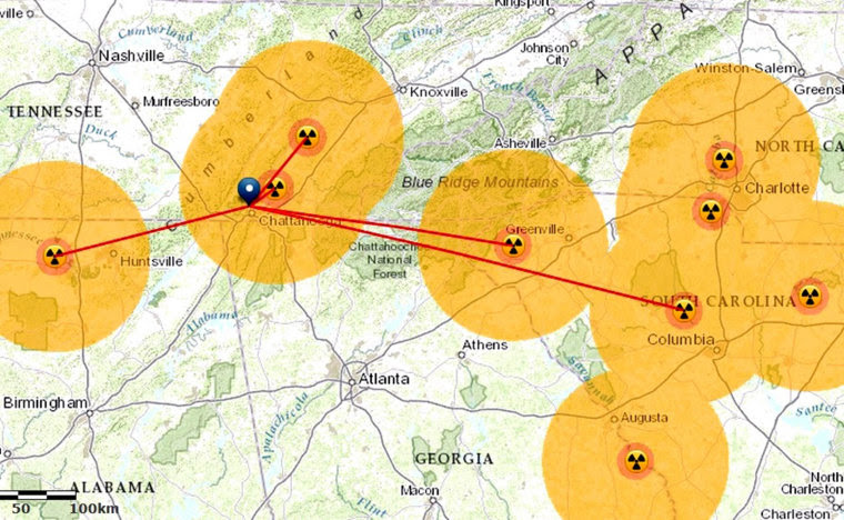 Find the distance from any location in the United States to the nearest nuclear power plants using this map from Esri.