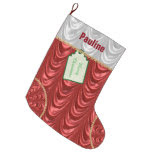 Personalize: Christmas Red Ruched Satin Look Large Christmas Stocking