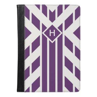 Monogram Purple, Grey Geometric Stripes iPad Air 2
