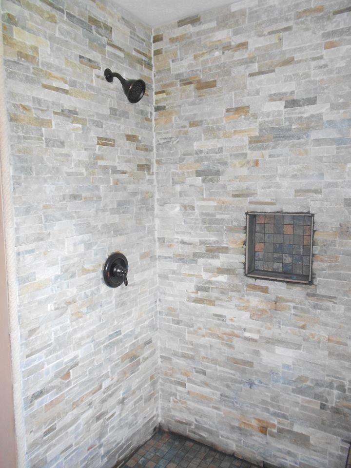 Gray stone  tile  shower  Grey stone  tile  shower  Our Tile