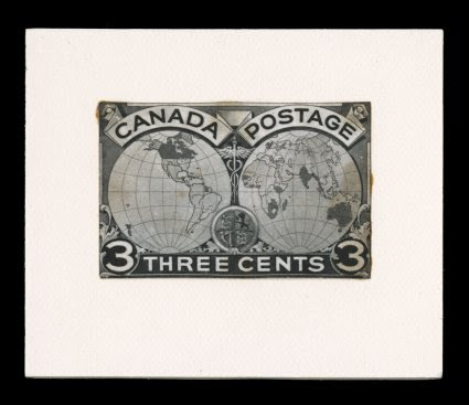 1898 3c Imperial Penny Postage photographic essay, a stamp size photo of the ink line and wash drawing listed in Minuse & Pratt 85E-A, mounted on card, very fine and unusual this is one of two 3c designs for the Imperial Penny Post issue (see t