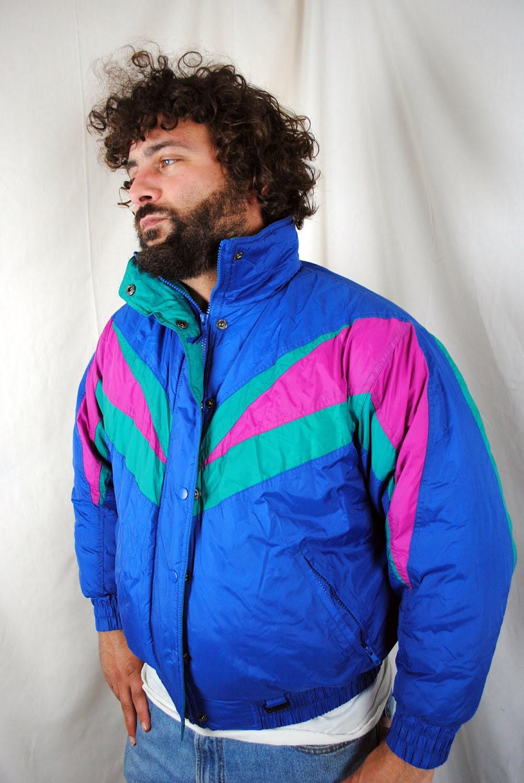 vintage 80s 90s puffy neon rainbow windbreaker ski
