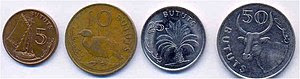 5, 10, 25, 50 butut coins
