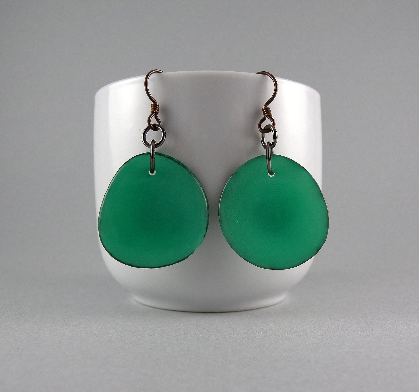 Teal Tagua Nut Eco Friendly Earrings with Free Shipping