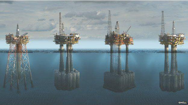 Plataformas de Shell en el campo petrolero de Brent, en el Mar del Norte