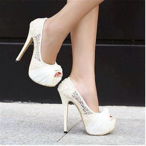 25  best ideas about White lace heels on Pinterest   Lace